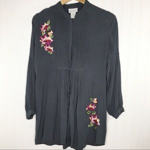 Soft Surroundings Gray Floral Embroidered Tunic M